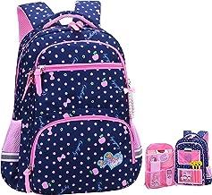 Girls Backpacks for Elementary, Polk Dots School Bag for Kids Primary Bookbags (Girls Backpacks for Elementary Navy Blue, ...
