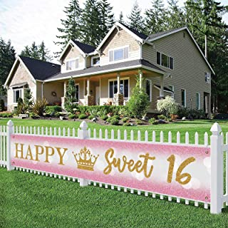 Large Happy Sweet 16 Banner, Happy 16th Birthday Yard Sign, 16th B-Day Lawn Sign, 16th Birthday Party Indoor Outdoor Backd...