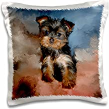 3dRose Toy Yorkie Puppy - Pillow Case, 16 by 16-inch (pc_3868_1)