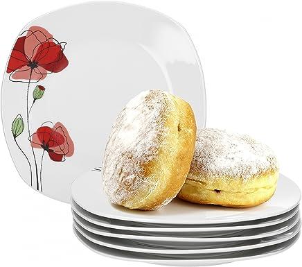 Preisvergleich für Van Well Monika 6er Set Frühstücksteller, Kuchenteller, Dessertteller, Ø 19 cm, Blumendekor, edles Marken-Porzellan
