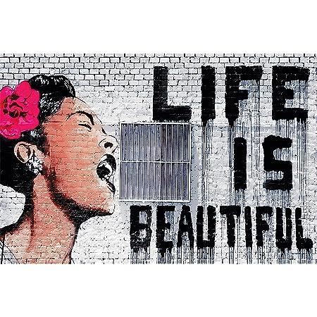 Great Art Xxl Poster Banksy Graffiti D Artista Decorazione Da Parete Life Is Beautiful Pop Art Street Style Street Art Stencil Artisti Di Strada Fotomurale Fotoposter 140 X 100 Cm