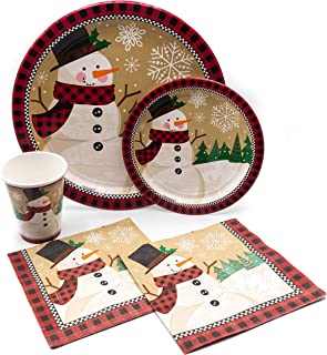 Holiday Christmas Winter Wonderland Tableware Pack! Disposable Paper Plates, Napkins and Cups Set for 15 (With free extras)