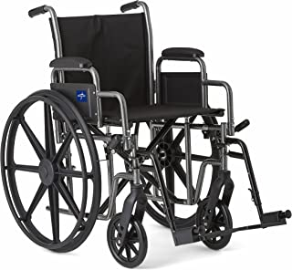 "Medline Strong and Sturdy Wheelchair with Desk-Length Arms and Swing-Away Leg Rests for Easy Transfers, 20"" Seat"