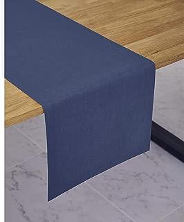Solino Home Medium Weight Linen Table Runner - 100% Pure Linen - 14 x 48 Inch, Blue