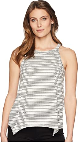 Sleeveless Sharkbite Stripe Rib Halter Top