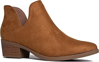J. Adams Levi Ankle Bootie - Western Cowboy Pointed Toe Low Heel Ankle Boot