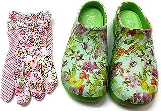 Trachten-Dirndl-More Damen Clogs & Pantoletten mit Gartenhandschuhen geblümt