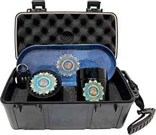 Mandala Locking Stash Box Combo - Smell Proof Case with Lock Grinder Stash Jar and Rolling Tray - Ultimate Stash Combo! Odor proof Discrete Stash Container with Accessories (Mandala)
