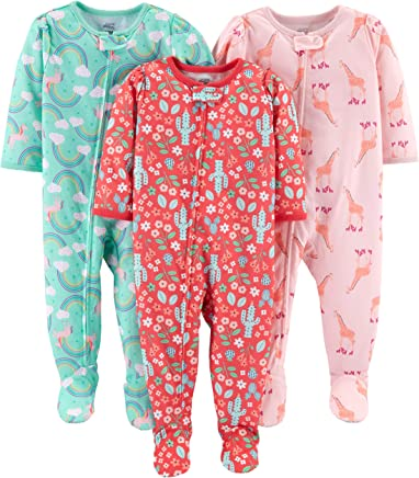 Simple Joys by Carter's Baby and Toddler Girls' 3-Pack Loose Fit Polyester Jersey Footed Pajamas