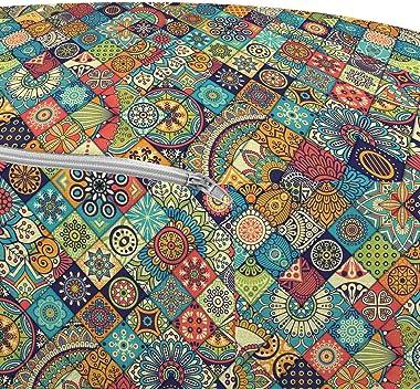 Ambesonne Moroccan Ottoman Pouf, Floral Abstract Ornate Floral Arrangement Oriental Motifs Foliage Pattern, Decorative Soft F