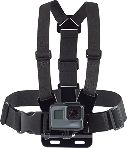 Amazon Basics Adjustable Chest Mount Harness for GoPro Camera (Compatible with GoPro Hero Series), Black