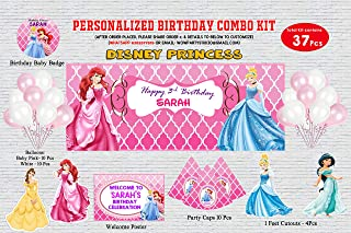 WoW Party Studio Personalized Disney Princess Theme Birthday Party Supplies with Birthday Boy/Girl Name - Combo Kit Small