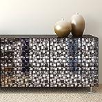"WALPLUS 15cm(6"")@96pcs Metallic Silver Grey Stone Mosaic Wall Tile Sticker Tile Paint Stick on Tiles Peel and Stick Self Adhesive Wall Tiles Stickers for Kitchen Bathroom Tile Transfer Backsplash Tile"