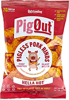 PigOut - Pigless Pork Rinds | High Protein Snack, Vegan, Gluten-Free (Hella Hot 1oz 4 pack)