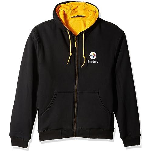 NFL Pittsburgh Steelers Black Craftsman Workman s Full Zip Hoodie Sweatshirt 2c474ea4f