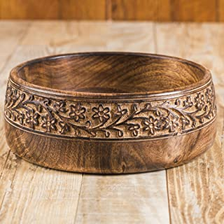 Rusticity Wood Serving Bowl/Salad Bowl - Large Carved| Mango Wood | Handmade | (8in)