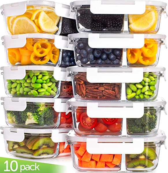 Glass Meal Prep Containers Glass Food Storage Containers With Lids 2 Compartment Glass Lunch Containers 20 Pcs Glass Storage Containers With Lids Glass Containers For Food Storage With Lids