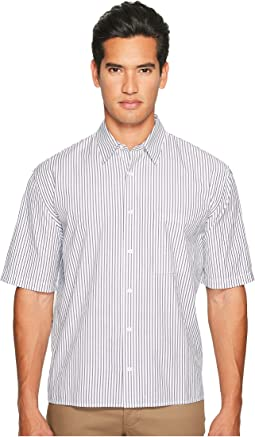 Deep Pleat Boxy Fit Short Sleeve Pinstripe Button Up