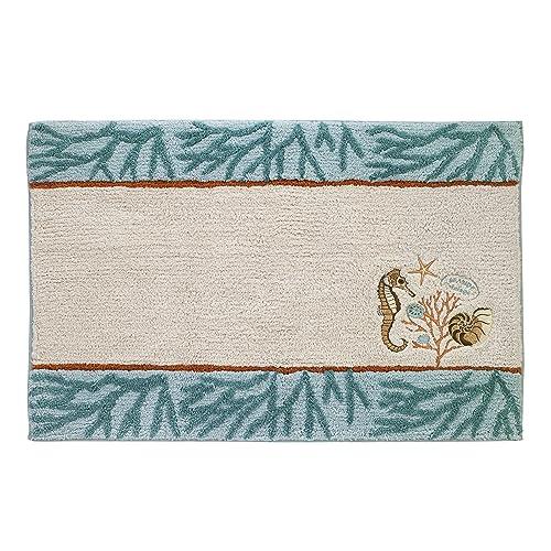 Avanti Seabreeze Sea Blue and Green 20 x 30 Tufted Cotton Bath Rug 13845JMUL