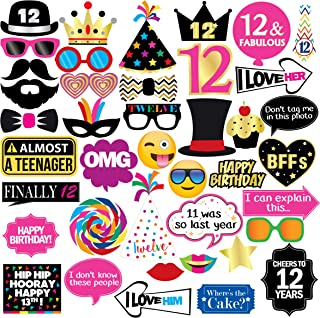 12th Birthday Photo Booth Party Props - 40 Pieces - Funny Kids Birthday Party Supplies, Decorations and Favors
