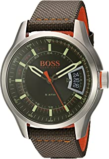 Orange Men's Quartz Stainless Steel and Leather Casual Watch, Color:Green (Model: 1550016)
