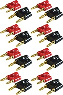 GLS Audio Gold Banana Plug Speaker Connectors Dual Tip Banana Plugs Banana Clips - Note: .190cm Tip to Tip (1.9cm) - 16 Pa...