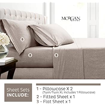 Morgan Home Cotton Rich T-Shirt Soft Heather Jersey Knit Sheet Set Warm and Cozy All Season Bed Sheets King, Heather Charcoal