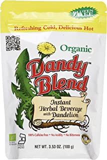 50 Cup Bag of Certified Organic Dandy Blend Instant Herbal Beverage with Dandelion, 3.53..