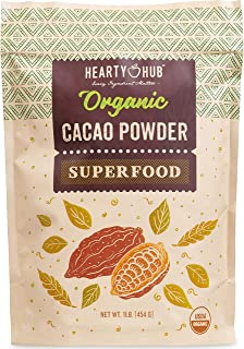 Heartyhub Certified Organic Cacao Powder: from Hand-Picked Peruvian Criollo Cocoa Beans - 16 oz