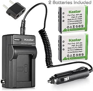 Kastar Battery (2-Pack) and Charger Kit for Fujifilm NP-50, Kodak KLIC-7004, Pentax D-Li68 work with Fujifilm FinePix F50FD,F60FD,F70EXR,F75EXR,F80EXR,F85EXR,F100FD,F200EXR,F300EXR,F305EXR,F500EXR,F505EXR,F550EXR,F600EXR,F605EXR,F660EXR,F665EXR,F750EXR,F770EXR,F775EXR,F800EXR,F850EXR,F900EXR,REAL 3D W3,X10,X20,XF1,XP100,XP110,XP150,XP160,XP170,XP200,BC-50,BC-45W and Kodak EasyShare M1033,M1093,M2008,PlayFull Dual,PlaySport,PlayTouch,V1073,V1273,V1233,V1253,Zi8,Zx3,Zi12 Cameras