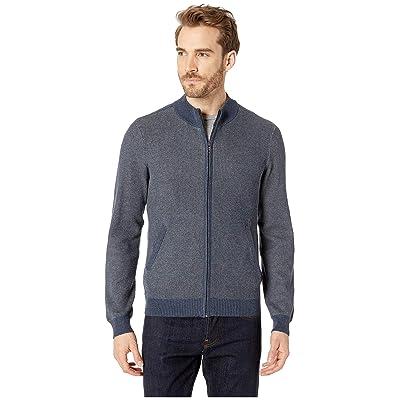 Agave Denim Beacon Long Sleeve Full Zip Sweater (Dark Denim) Men
