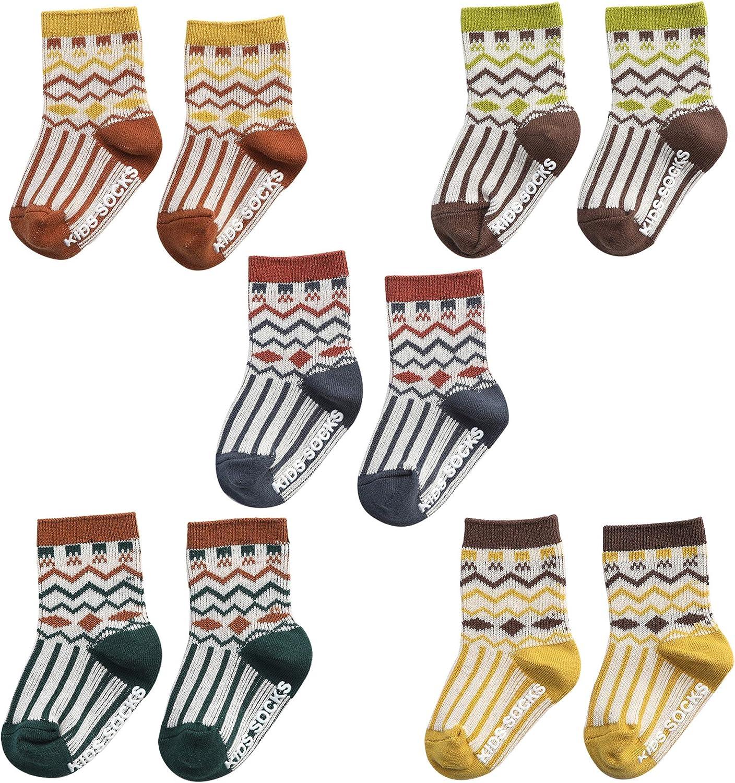 Unisex-Baby Non-Skid Cotton Crew Socks Toddler Infant Newborn 5 Pairs Aztec Style