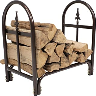 Sunnydaze 2-Foot Firewood Log Rack, Indoor/Outdoor Decorative Wood Storage Holder for Fireplace, Bronze