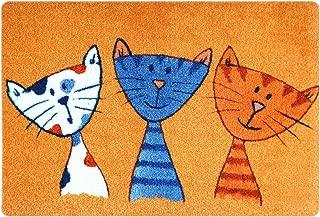 Deco-mat- Alfombrilla para el baño, uso exterior o interior; antideslizante y lavable, diseño con gatos, naranja, 40 x 60 cm