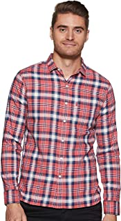 Levi's Men's Checkered slim fit Casual Shirt (74638-0001_ Red Checkered_Large)
