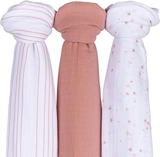 """Ely's &Co. Muslin Swaddle Blanket 3-Pack for Baby Girl — 100% Cotton Muslin Extra-Large Swaddle Blankets (47"""" x 47"""") — (Mauve Pink Stars │ Solid Dusty Rose │ Dusty Rose Stripes)"""