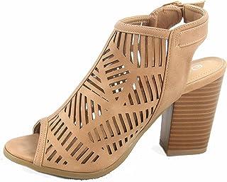 Top Moda Connie-8 Women`s Cute Open Toe Chunky Heel Buckle Booties Sandal Shoes
