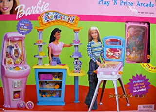 BARBIE PLAY 'N PRIZE ARCADE Game Center PLAYSET w PINBALL GAME w 'Real LIGHTS & SOUNDS', CLAW Game & MORE! (2000)