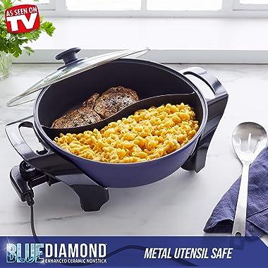 Blue Diamond Cookware Split Savor Diamond Enhanced Ceramic Nonstick Electric Skillet, 5.5QT