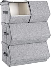 SONGMICS Stackable Storage Bins With Lids, Toy Organizer, Metal Frame, Magnetic Closure, For Clothes Toys Books, Set of 4, Gray URLB22GY