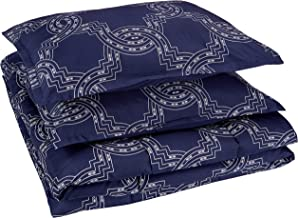 Amazon Basics Comforter Set, Full / Queen, Navy Nautical Knot, Microfiber, Ultra-Soft