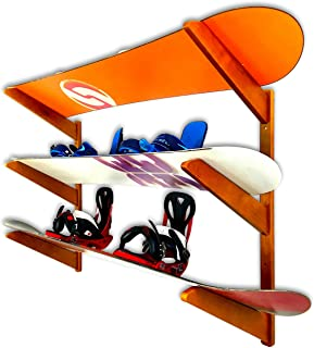 StoreYourBoard Timber Snowboard Wall Rack, Holds 3 Snowboards, Wood Home and Garage Storage Mount System, Cherry