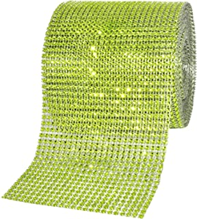 Mandala Crafts Faux Diamond Bling Wrap, Faux Rhinestone Crystal Mesh Ribbon Roll for Wedding, Party, Centerpiece, Cake, Vase Sparkling Decoration (4.75 Inches 24 Rows 10 Yards, Lime Green)