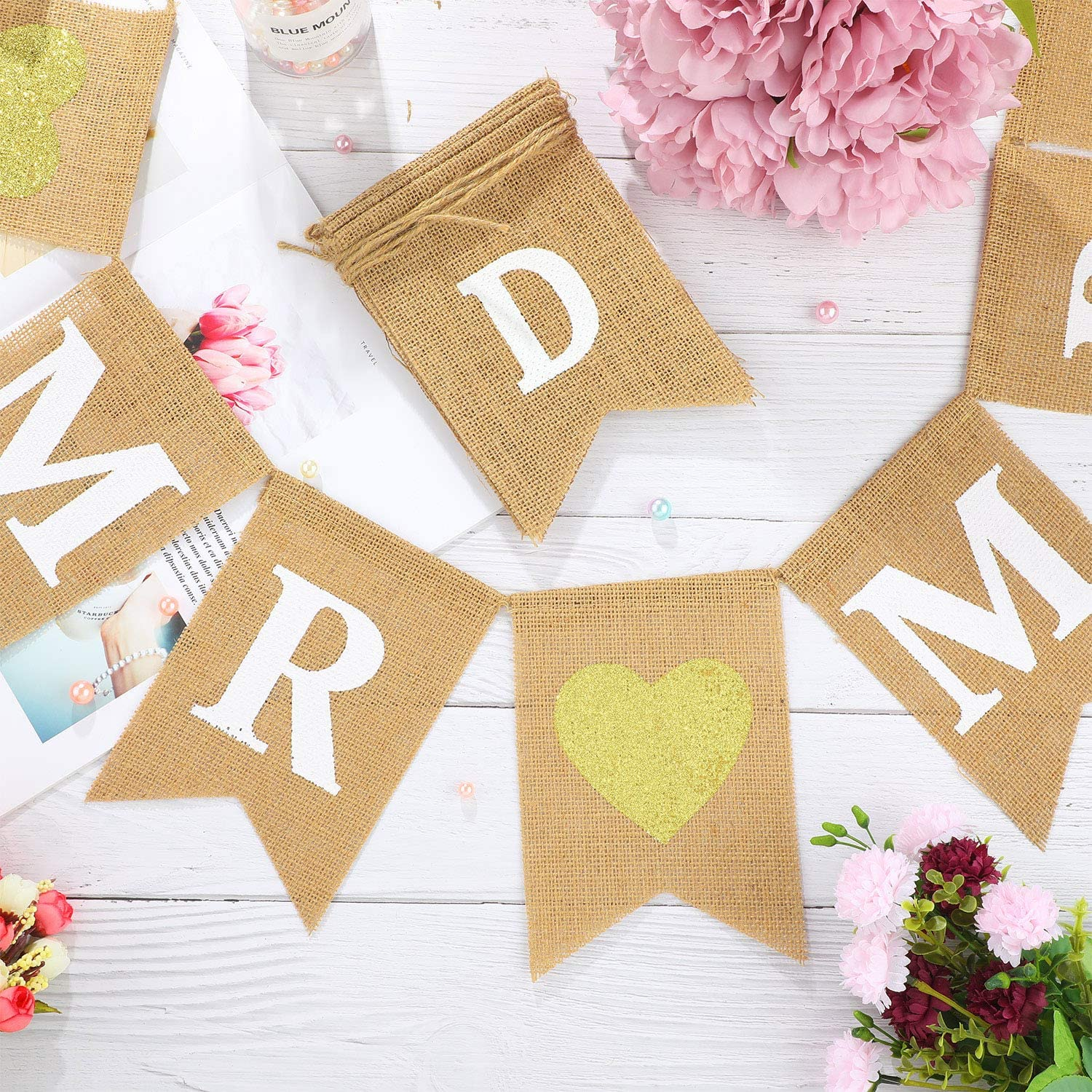 23 Pieces Mr and Mrs Banner Just Married Banner Burlap Wedding Bridal Shower  Banner Rustic Bunting Garland for Wedding Party Within Bridal Shower Banner Template