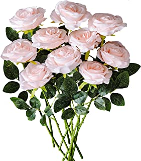 Kislohum Blush Artificial Flowers Roses 10pcs Real Looking Fake Silk Roses for Wedding Bouquets Floral Leaf Centerpieces Party Home Decor Baby Shower - Blush