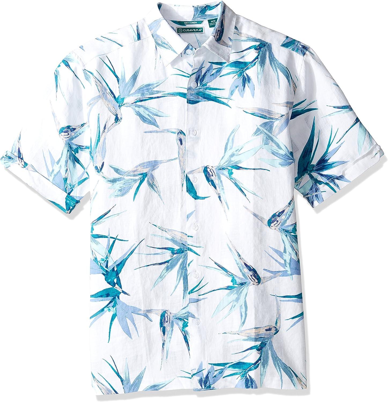 Cubavera Men's Luxury Short Sleeve 100% Print Max 43% OFF Linen Button-Dow Tropical