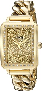 GUESS Women's U0896L2 Trendy Gold-Tone Watch with Gold Dial , Crystal-Accented Bezel and Stainless Steel G-Link Band