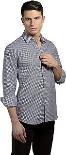 ANGELICO Camisa de hombre elegante con manga larga – 100% algodón – corte Slim