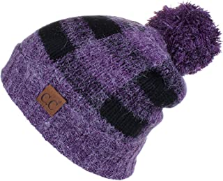 C.C Hatsandscarf Exclusives Buffalo Check Pattern Fuzzy Lined Knit Pom Beanie Hat (HAT-55)