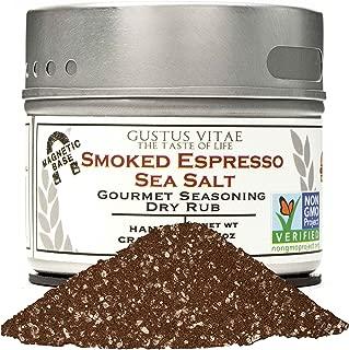 Smoked Espresso Sea Salt - Authentic Artisan Gourmet Seasoning - Non GMO Project Verified - Small Batch - Magnetic Tin - 2.3oz - Gustus Vitae